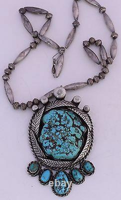 Début De L'argent Sterling Inhabituelle Perles Énormes Et Mousse Turquoise Nugget Navajo Collier
