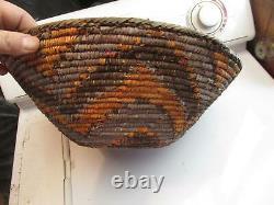 Début Des Années 1900 Antique Mission Native American Large Woven Basket Bowl