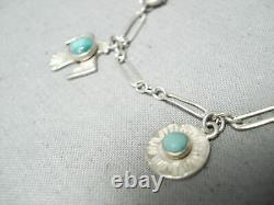 Début Des Années 1900 Argent Vintage Navajo Turquoise Sterling Charm Bracelet