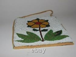 Début Des Années 1900 Native American Floral Beaded Bag Plateau Tribe (colville)