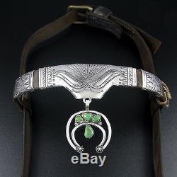 Début Des Années 1900 Navajo Coin Argent & Turquoise Cheval Headstall / Bride