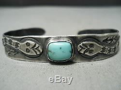 Début Des Années 1900 Serpent Vintage Navajo Turquoise Bracelet En Argent Sterling Vieux