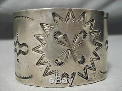 Début Des Années 1900 Sterling Forgé À La Main Navajo Vintage Silver Large Bracelet Old