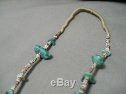 Début Des Années 1900 Turquoise Navajo Vintage Nugget Heishi Jacla Collier