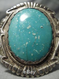 Début Des Années 1900 Turquoise Sterling Terre Navajo Vintage Bracelet En Argent Vieux