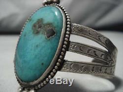 Début Des Années 1900 Vintage Navajo Aqua Bleu Turquoise Bracelet En Argent Sterling Vieux