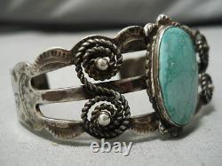 Début Des Années 1900 Vintage Navajo Carico Lac Turquoise Bracelet En Argent Sterling Vieux