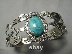 Début Des Années 1900 Vintage Navajo Carico Lake Turquoise Sterling Silver Bracelet Old
