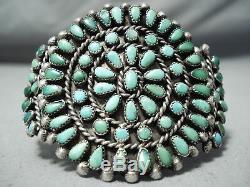 Début Des Années 1900 Vintage Navajo Cerrillos Turquoise Bracelet En Argent Sterling Vieux