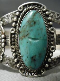 Début Des Années 1900 Vintage Navajo Cerrillos Turquoise Sterling Silver Bracelet Old