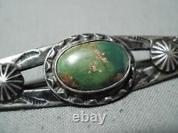 Début Des Années 1900 Vintage Navajo Cerrillos Turquoise Sterling Silver Pin Old