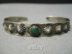 Début Des Années 1900 Vintage Navajo Cerrilos Turquoise Bracelet En Argent Sterling Vieux