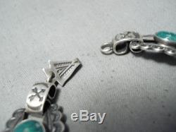 Début Des Années 1900 Vintage Navajo Damale Turquoise Bracelet En Argent Sterling Vieux
