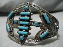 Début Des Années 1900 Vintage Navajo Rectangulaire Turquoise Bracelet En Argent Sterling Vieux