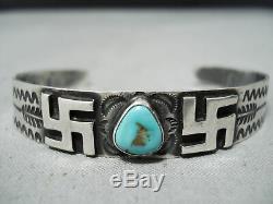 Début Des Années 1900 Vintage Navajo Tourbillonnant Logs Turquoise Bracelet En Argent Sterling