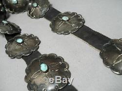Début Des Années 1900 Vintage Navajo Turquoise Sterling Silver Coin Concho Ceinture Vieux