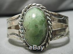 Début Des Années 1900 Vintage Navajo Vert Turquoise Bracelet En Argent Sterling Vieux