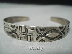 Début Des Années 1900 Vintage Navajo Whirling Logs Sterling Silver Bracelet