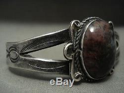 Début Des Années 1900 Vintage Navajo'domed Bois Pétrifié ' Argent Bracelet Vieux