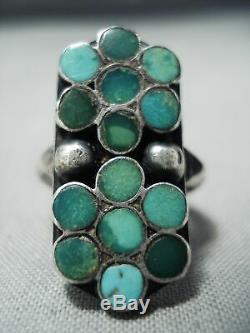 Début Des Années 1900 Vintage Zuni Dishta Cerrillos Turquoise Sterling Bague En Argent Vieux