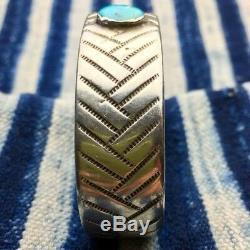 Début Des Années 1920 Turquoise Navajo Amérindien Lingot D'argent Ciselé Bracelet