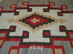 Début Du 20ème C Antique Navajo Nat American Main Teint /tissé Tapis De Motif Géométrique