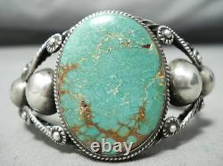 Début Énorme Vintage Navajo Royston Turquoise Enroulé Bracelet En Argent Sterling