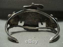 Début Énorme Vintage Zuni Turquoise Corail Argent Patina Bracelet