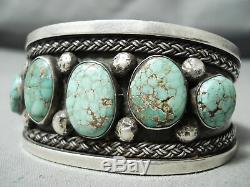 Début High Grade Carico Lac Turquoise Vintage Navajo Bracelet En Argent Sterling