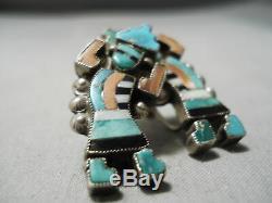 Début Musée Qualité Vintage Zuni Turquoise Corail Boucles D'oreilles En Argent Sterling Vieux