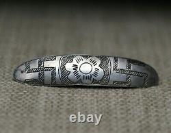 Début Navajo Coin Argent Whirling Log Broche Broche Pin C. 1880-1900
