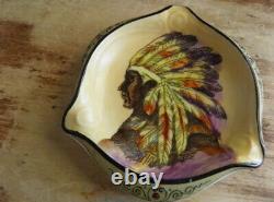 Début Noritake Nippon Moriage Peint À La Main Native American Indian Chief Ashtray