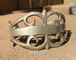 Début Old Pawn Cast Navajo Sable 1940 Monnaie Argent Large Lingot Bracelet # 2