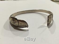 Début Original Sculpté À La Main Tlingit Bracelet En Argent Bill Wilson Hoonah Alaska