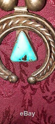 Début Rare Old Pawn Turquoise & Argent Coin Squash Collier Fleur