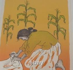 Début Rc Gorman Amérindien Navajo Lithographie Basse Édition Making Corn Flour