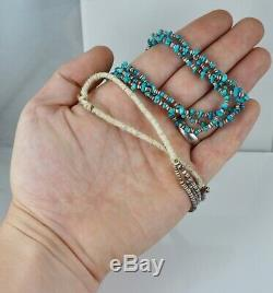 Début Santo Domingo 3 Strand Turquoise Collier Shell Heishi Old Native American