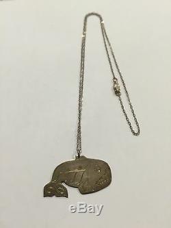 Début Vintage Sculpté À La Main D'argent Tlingit Pendentif Amos Wallace Juneau En Alaska Rare