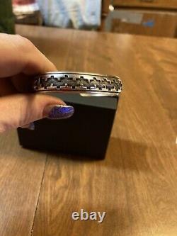 Début Vintage Tommy Singer Navajo 925 Ss Overlay Design Cuff Bracelet