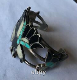 Début Zuni Canal Incrustation Sterling Silver Multi Bracelet D'incrustation De Pierre Avec Kachina