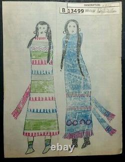 Dessin Original De Grand Livre. Deux Poupées Sioux. Début Des Années 1900