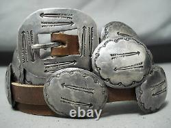 Détaillé Early Vintage Navajo Sterling Silver Arrow Concho Belt Old