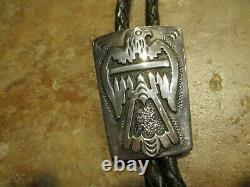 Dynamite Early Tommy Singer (d.) Navajo Sterling Silver Thunderbird Bolo Tie