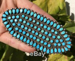 Early 4 3/8 Navajo Petit Point Snake Eye Turquoise Argent Sterling Broche