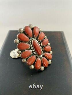 Early Alice Quam Lg Coral Sterling Ring Cluster Zuni Signed, Original Tag 13.4 G