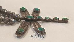 Early Antique Navajo Dragonfly Turquoise Pendentif Silver Bead Collier