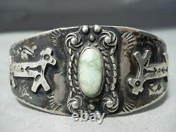 Early Carico Lake Turquoise Vintage Navajo Argent Sterling Bracelet Vieux