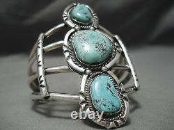 Early Carling Turquoise Towerinv Vintage Bracelet En Argent Sterling Navajo