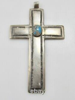 Early Coin Argent Turquoise Pendentif Croix Lingot Main Amérindien Navajo