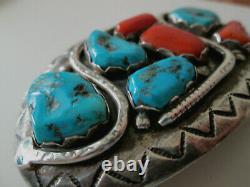 Early Effie C Sleeping Beauty Turquoise Oxblood Coral Sterling Belt Buckle -zuni